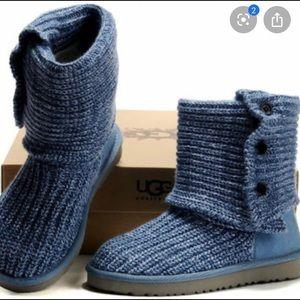 Blue Knit Ugg Boots